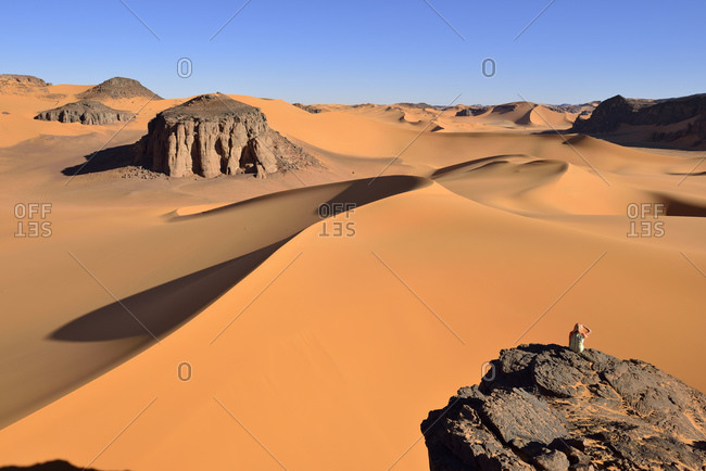 Algeria- Tassili n' Ajjer- Tadrart- Sahara- Tassili n' Ajjer National Park- view to the sand dunes and rocks of Moul Naga
