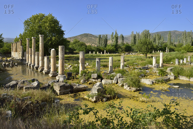 Turkey- Aydin Province- Caria- Antique Tiberius Agora at the archaeological site of Aphrodisias
