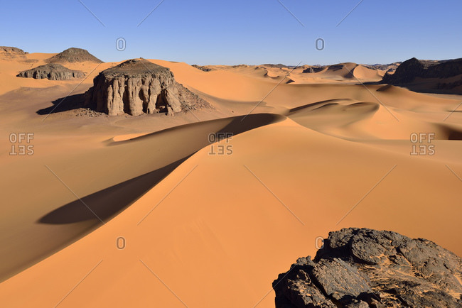 Africa- Algeria- Tassili n' Ajjer- Tadrart- Sahara- Tassili n' Ajjer National Park- View to the sand dunes and rocks of Moul Naga
