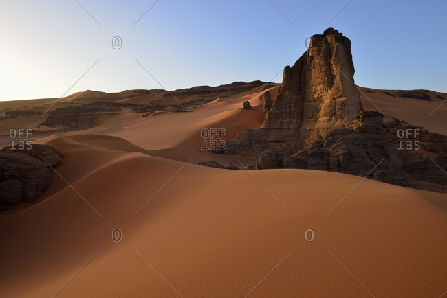 Algeria- Tadrart region- Sahara desert-  sand dunes of Tin Merzouga at evening twilight