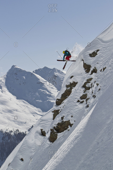 Austria- Man skiing on snowcapped mountains