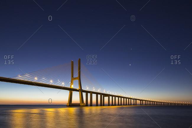 Portugal- Lisbon- View of Vasco da Gama bridge at River Tagus