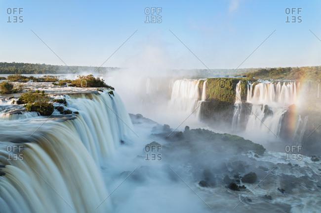 South America- Argentina- Brazil- Parana- Iguazu National Park- Iguazu Falls and rainbow