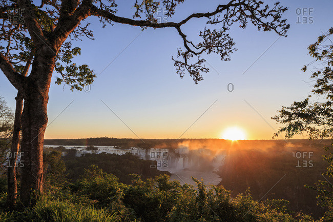 South America- Brazil- Parana- Iguazu National Park- Iguazu Falls against the evening sun