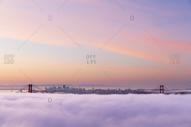 USA- California- San Francisco- skyline and Golden Gate Bridge in fog seen from Hawk Hill