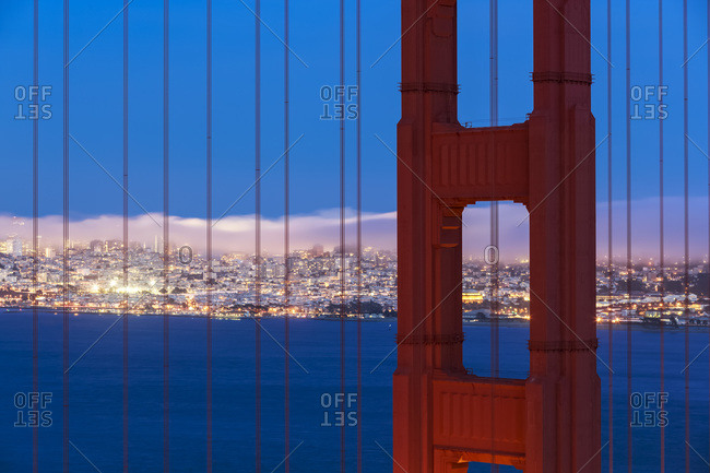 USA- California- San Francisco- skyline and Golden Gate Bridge at the blue hour seen from Hawk Hill