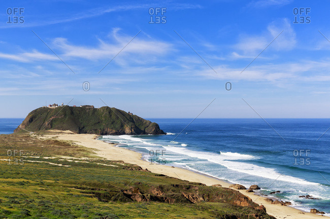 USA- California- Big Sur- Pacific Coast- National Scenic Byway- Point Sur State Historic Park- View to Point Sur Lighthouse