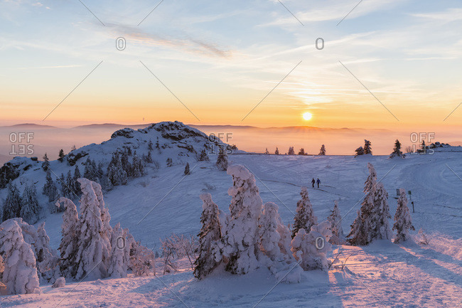 Germany- Bavaria- Bohemian Forest in winter- Great Arber and Richard-Wagner-Head at sunset