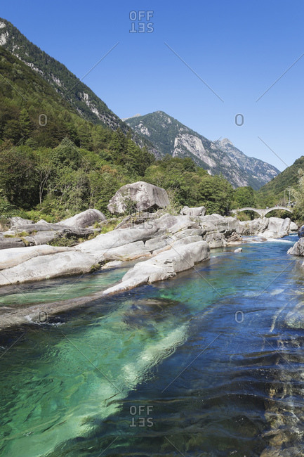 Switzerland- Ticino- Val Verzasca- Verzasca river- Lavertezzo- Ponte dei Salti bridge