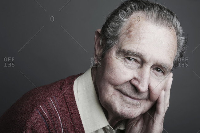 Portrait of senior man smiling- close up