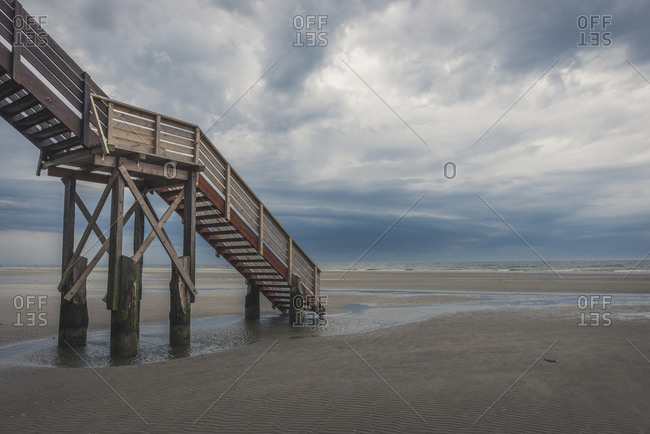 Germany- Schleswig-Holstein- St Peter-Ording- beach and staircase