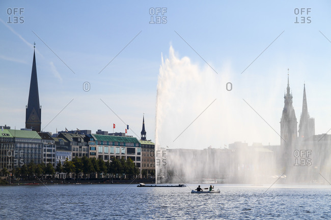 Germany- Hamburg- Inner Alster and Alster fountain