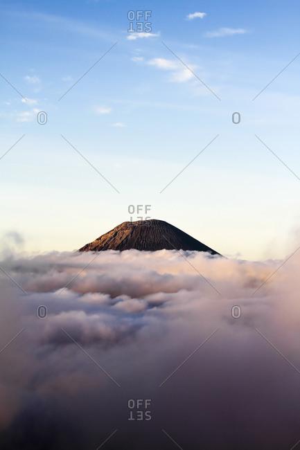 Indonesia- Java- Bromo Tengger Semeru National Park- View from Mount Penanjakan to Mount Batok above the clouds