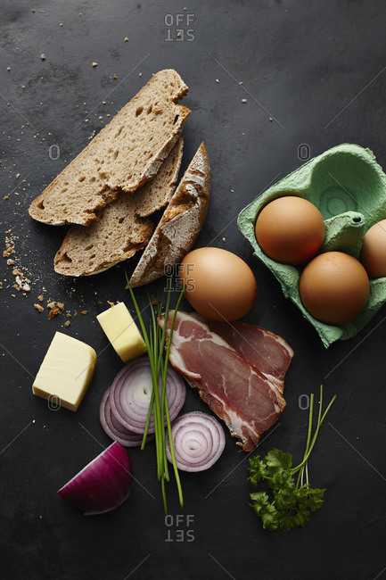 Butter- eggs- bread- bacon and onions