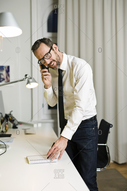 Smiling businessman talking on the phone in office