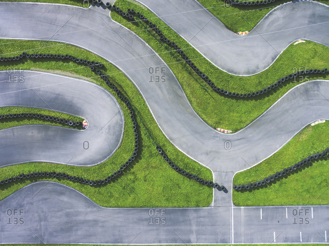 Aerial view of go-kart track