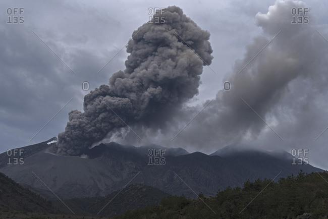 Japan- View of eruption at Sakurajima