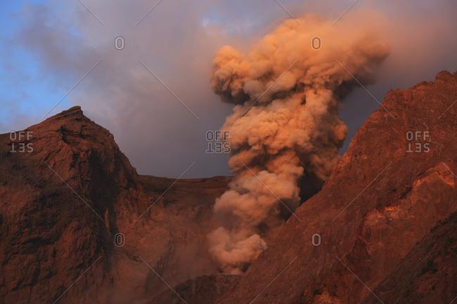 Indonesia- View of eruption from Batu Tara volcano island