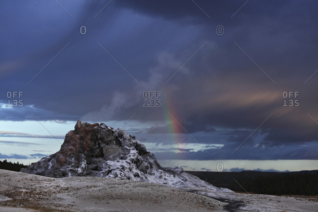 View of White dome geyser at Yellowstone National Park