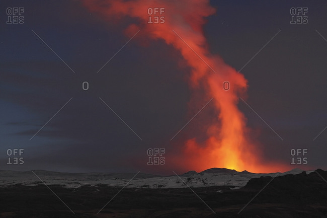 Iceland- View of lava erupting from Eyjafjallajokull Fimmforduhals- 2010