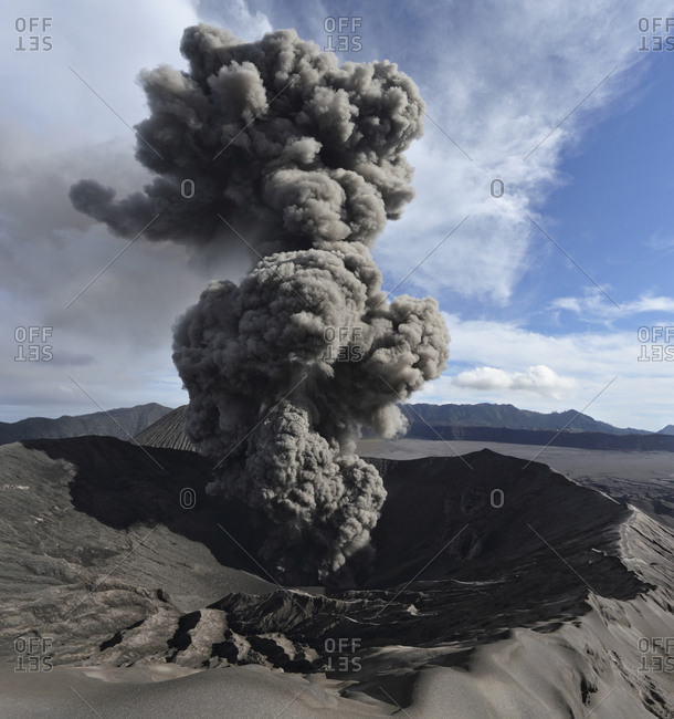 Indonesia- Java- View of eruption from Bromo volcano