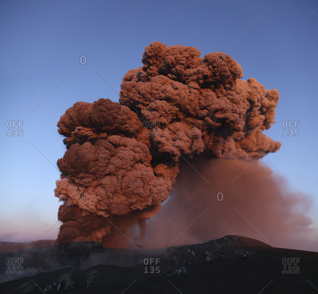 Iceland- View of lava erupting from Eyjafjallajokull