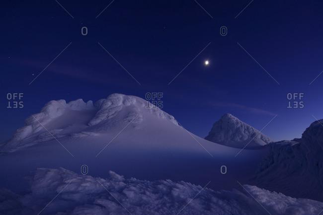 New Zealand- View of Mount Taranaki at night
