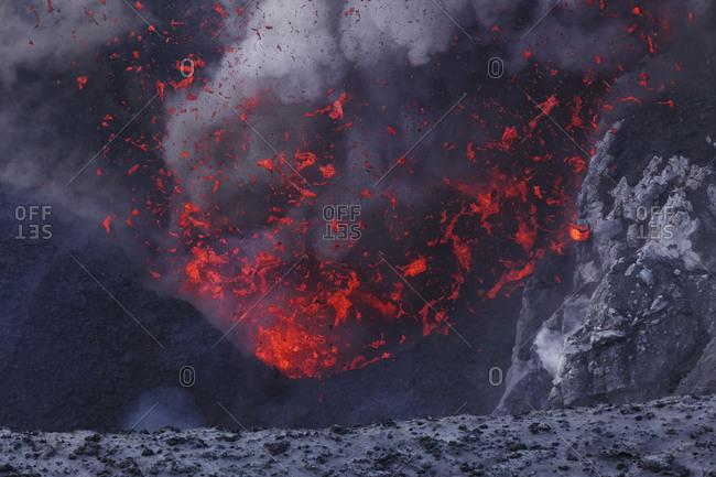 Vanuatu- Tanna Island- View of lava erupting at Yasur volcano