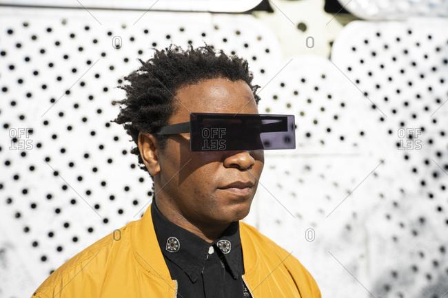 Portrait of mature man wearing modern sunglasses- Barcelona- Spain