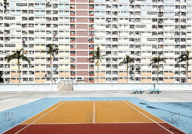 Hong Kong- Choi Hung- sports field in front of an apartment block