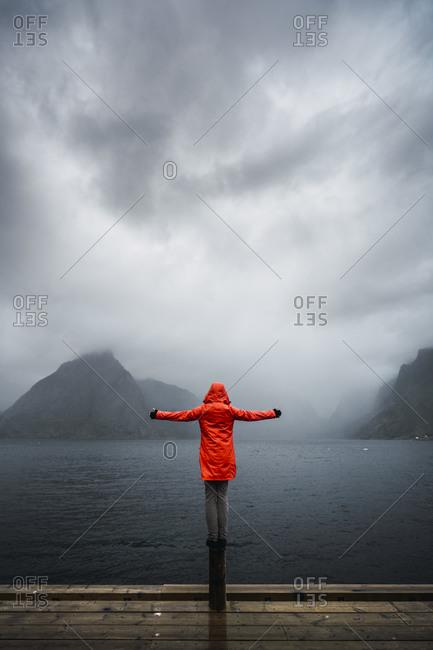 Norway- Lofoten- rear view of man balancing on a pole at the coast