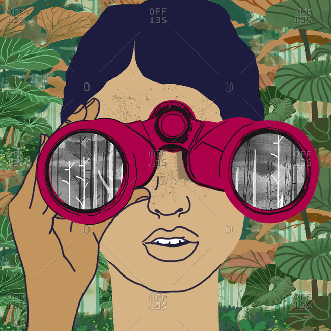 Woman with binoculars looks at deforestation