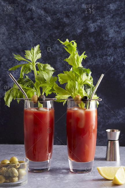 Bloody Mary cocktails with metal straws