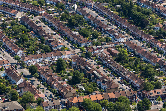 London, United Kingdom - August 1, 2013: An aerial view of residential streets in London
