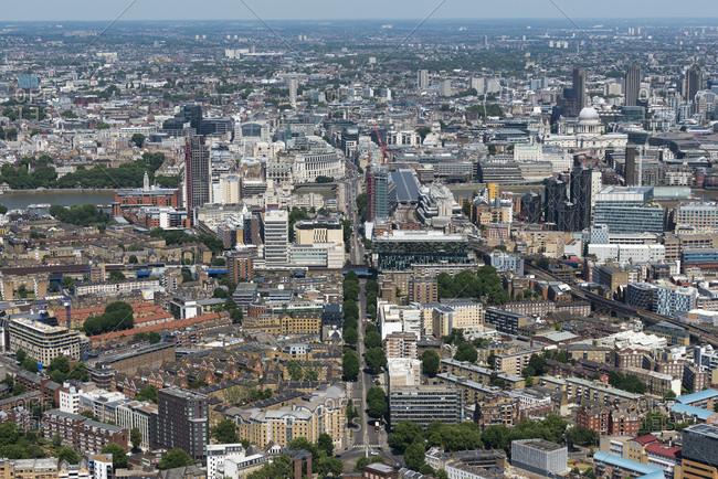London, United Kingdom - August 1, 2013: Bird's eye view of Balckfriars Road in London
