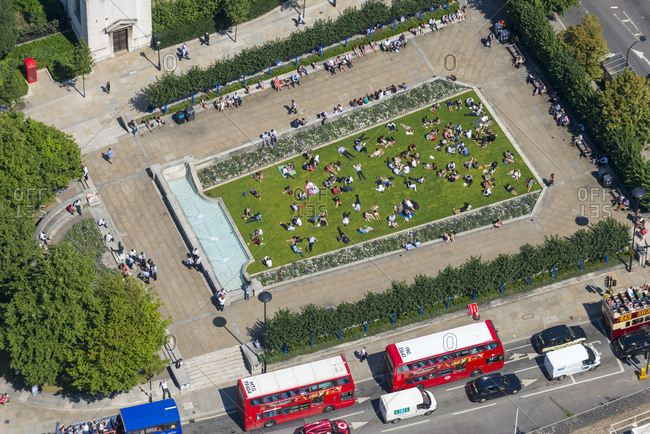 London, United Kingdom - August 1, 2013: St. Paul's Cathedral and Festival Gardens in London