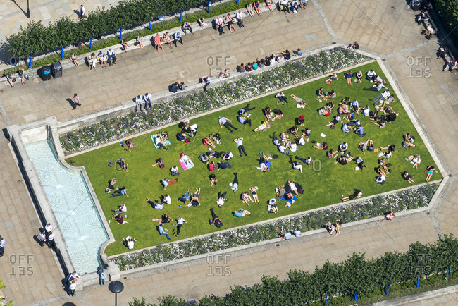 London, United Kingdom - August 1, 2013: Aerial view over St. Paul's Cathedral's Festival Gardens in London