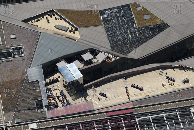 London, United Kingdom - August 1, 2013: An aerial view of One New Change shopping complex next to St. Paul's Cathedral