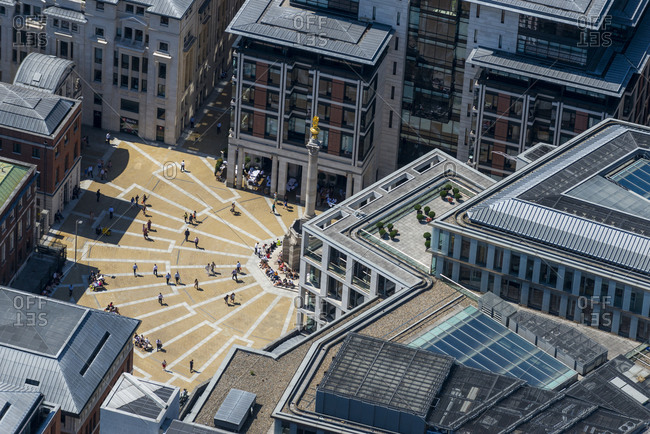 London, United Kingdom - August 1, 2013: Aerial view of Paternoster Square in London