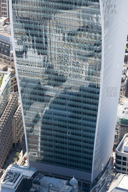 London, United Kingdom - August 1, 2013: The glass concaved side of 20 Fenchurch Street in London seen from above