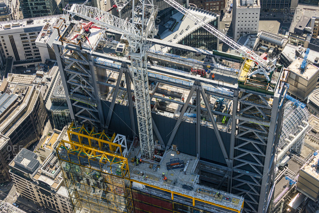 London, United Kingdom - August 1, 2013: A tower under construction in London
