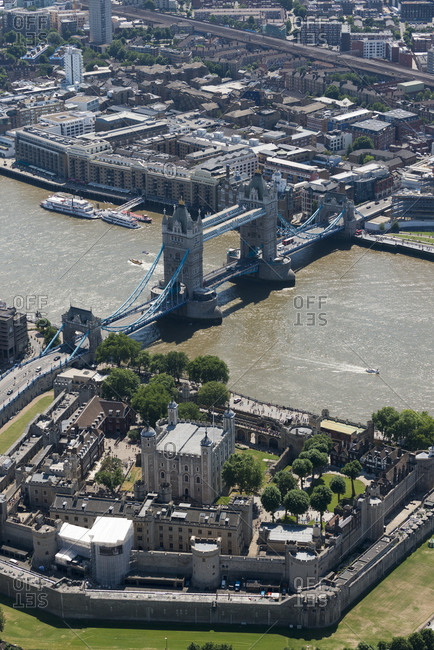 London, United Kingdom - August 1, 2013: Aerial view of The Tower of London and Tower Bridge