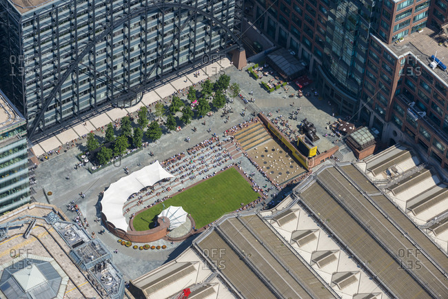 London, United Kingdom - August 1, 2013: Aerial view of Exchange Square and Broadgate in London