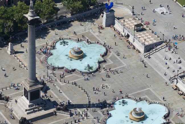 London, United Kingdom - August 1, 2013: An aerial view of Trafalgar Square