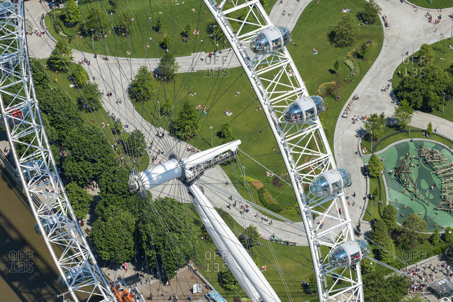 London, United Kingdom - August 1, 2013: An aerial view of Jubilee gardens behind The London Eye
