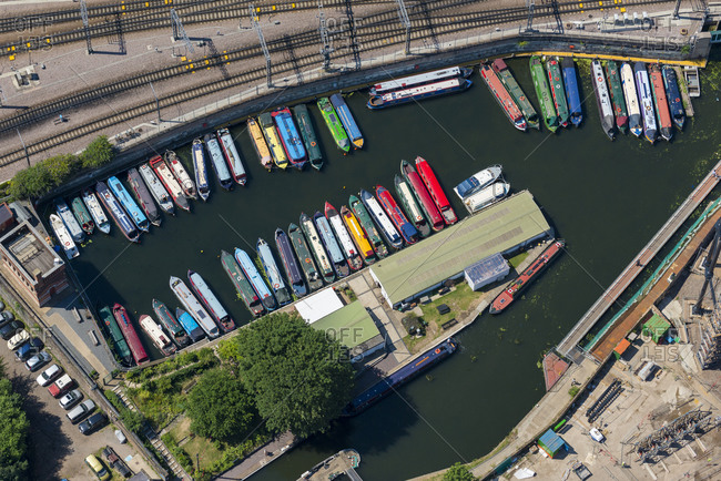 London, United Kingdom - August 1, 2013: An aerial view of narrow boats moored in London