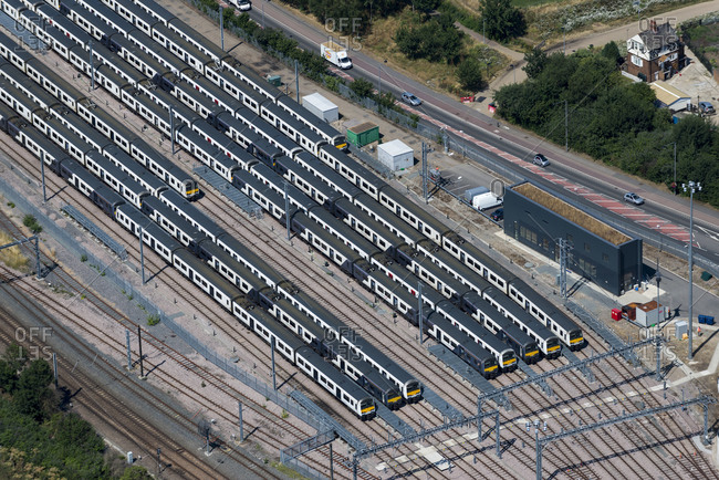 London, United Kingdom - August 1, 2013: An aerial view of trains in London