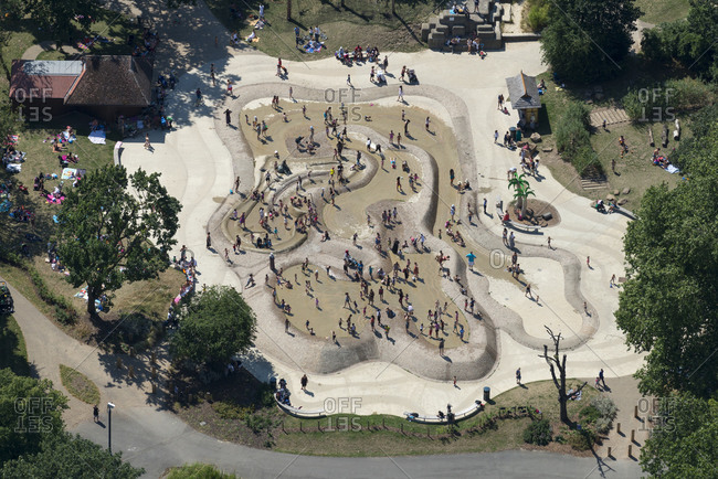 London, United Kingdom - August 1, 2013: Aerial view of a playground in London