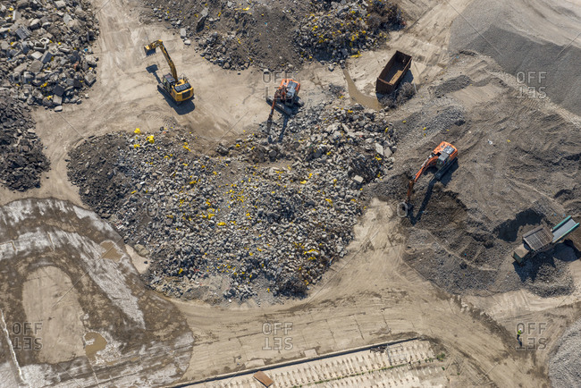 London, United Kingdom - August 1, 2013: Bird's eye view of a construction site in London