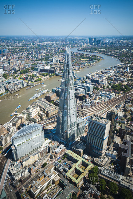 London, United Kingdom - August 1, 2013: An aerial view of the Shard beside the River Thames